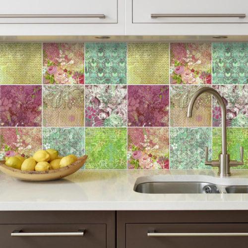 Floral Patchwork decoração de azulejos