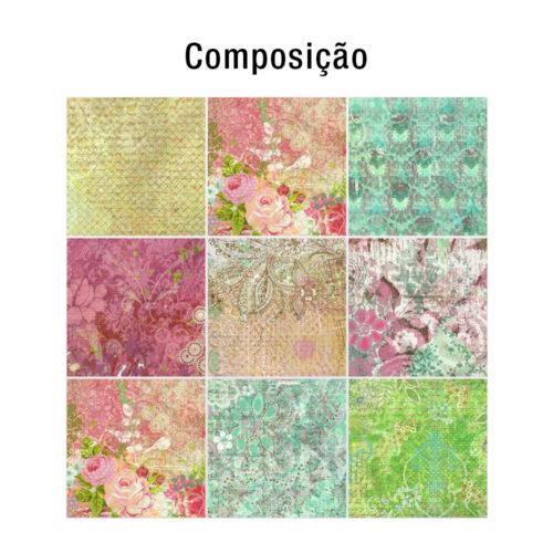 Floral Patchwork decoração de azulejos composição