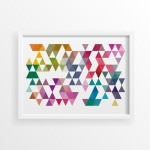 Triangulos Retro Coloridos Poster