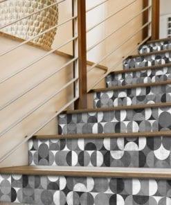 Mid Century Rounded Azulejos Autocolantes - Escadas