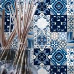 Padrão Azul Azulejos Autocolantes