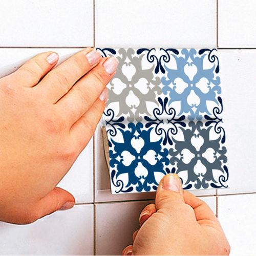 Padrão Azul Azulejos Autocolantes Aplicar