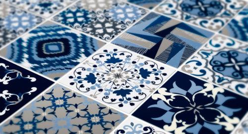 Padrão Azul Azulejos Autocolantes Pormenor