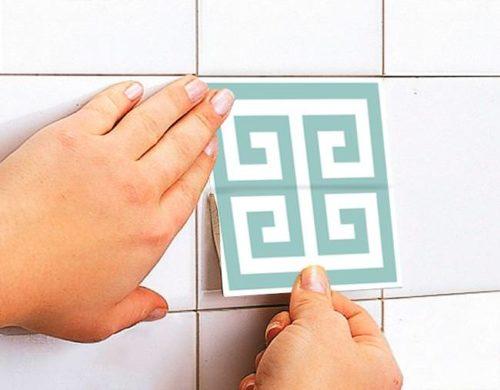 Padrão Grego Azulejos Autocolantes Aplicar
