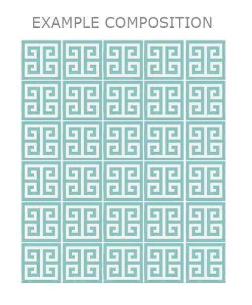 Padrão Grego Azulejos Autocolantes Pack