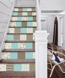 Patchwork Castanho Azul - Escadas
