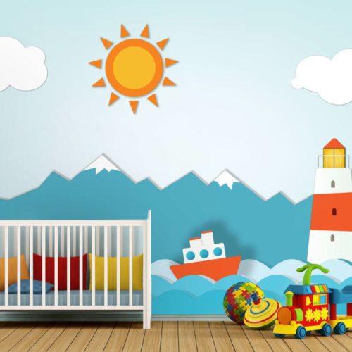 Mural Infantil Farol e Barco