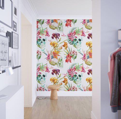 Papel de parede caveira floral - Papel paredes ikea ...