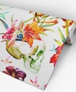 Papel de Parede Caveira Floral Aguarela Rolo