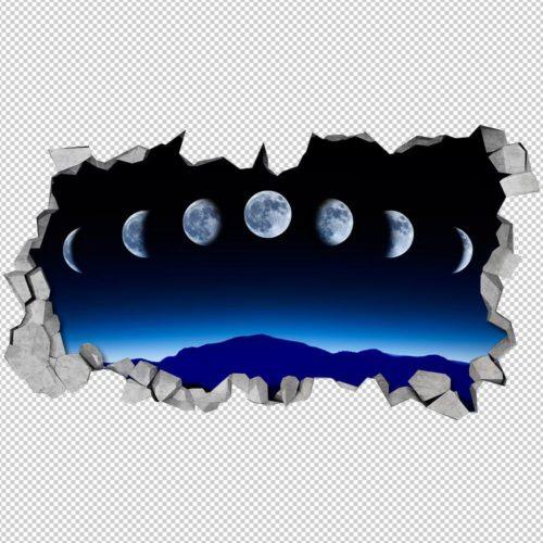 Fases da Lua Paredes 3D Detalhes