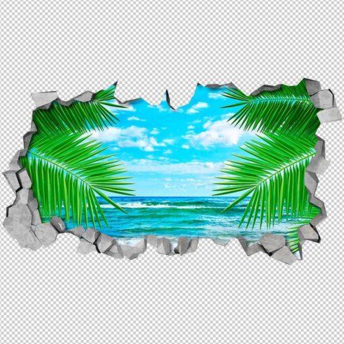 Folhas e Mar Efeitos 3D Detalhes