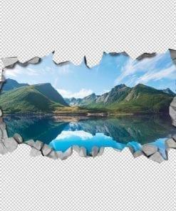Lago nas Montanhas Efeitos 3D Detalhes