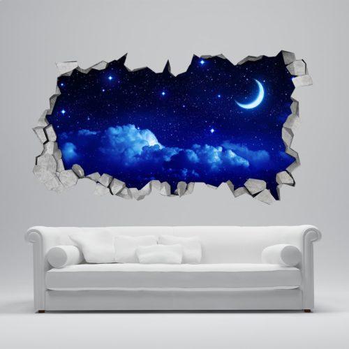 Lua e Céu Estrelado 3D Wallpaper
