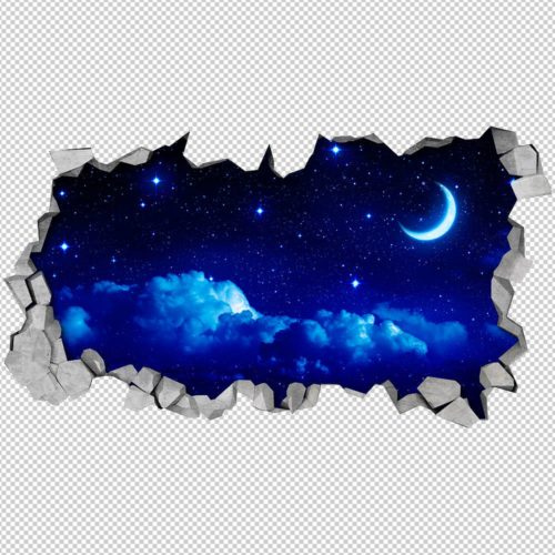 Lua e Céu Estrelado 3D Wallpaper Detalhes