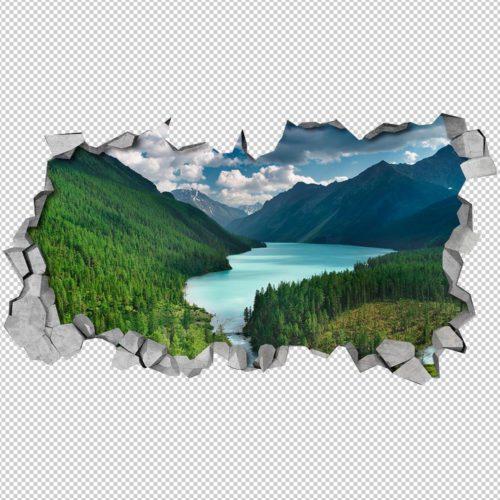 Rio nas Montanhas Efeitos 3D Detalhes
