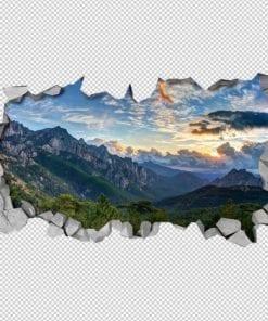 Vista para as Montanhas Paredes 3D Detalhes