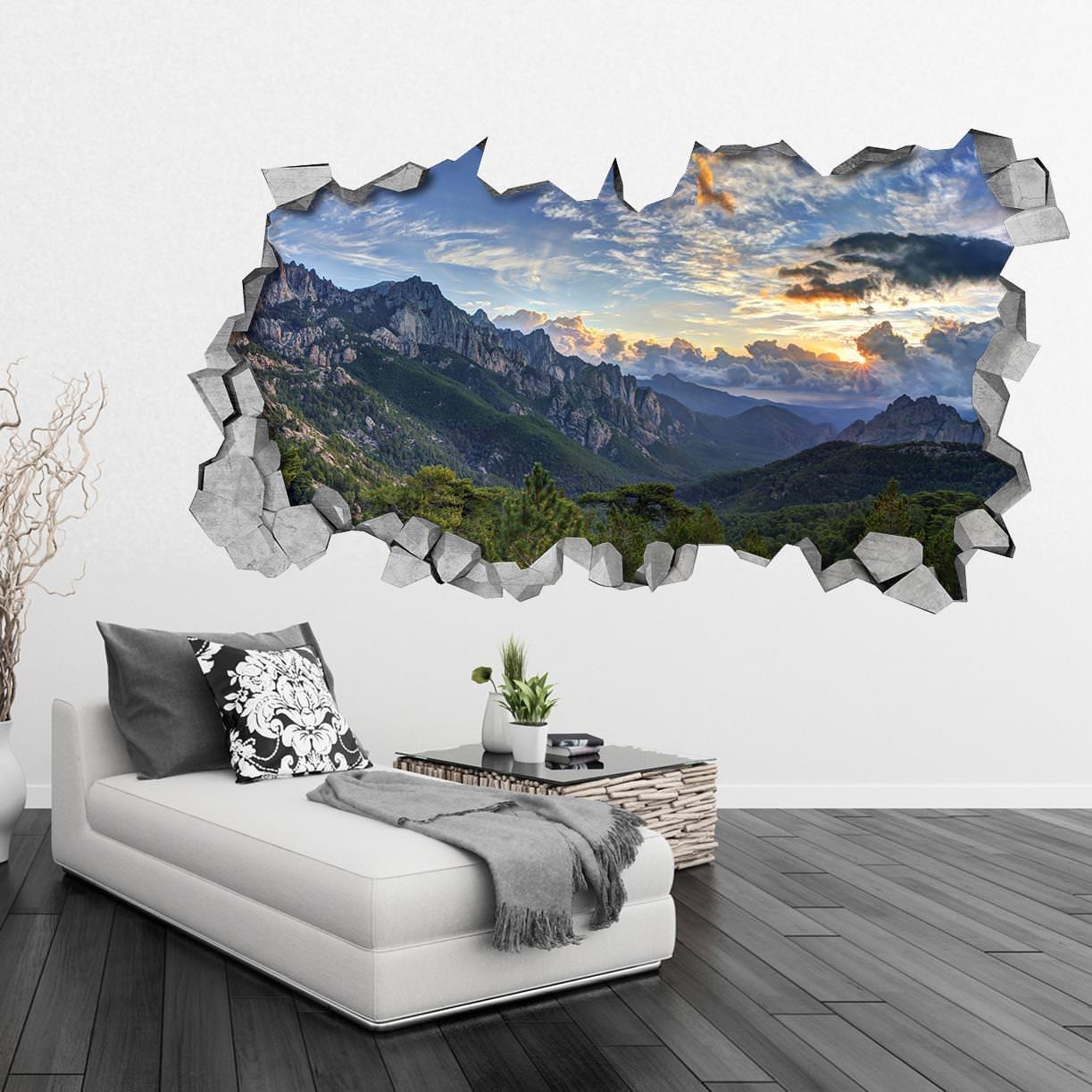 Vista para as montanhas paredes 3d - 3d vinyl wandtattoo ...