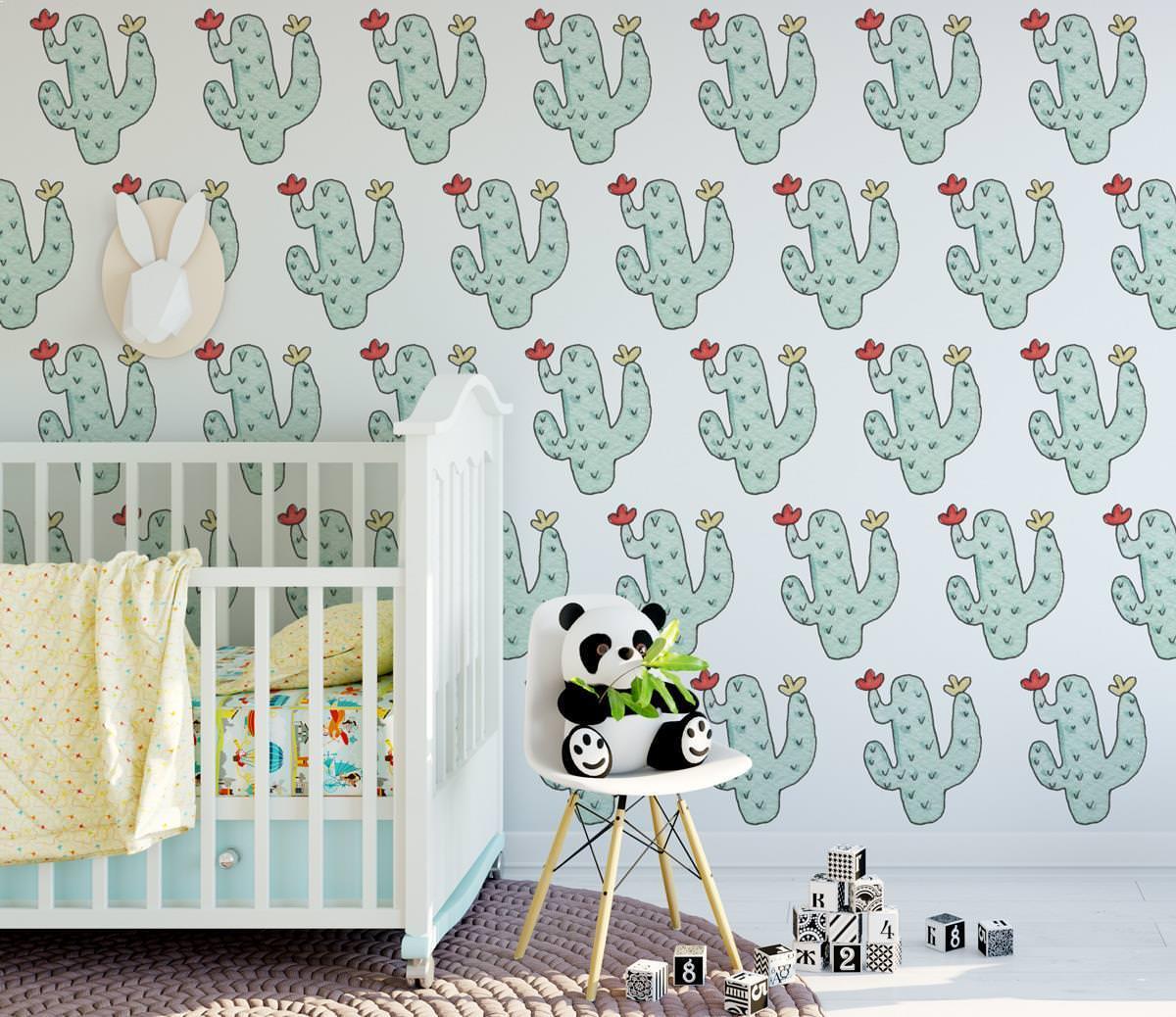 Cactos aguarela infantil papel de parede - Papel para paredes ikea ...