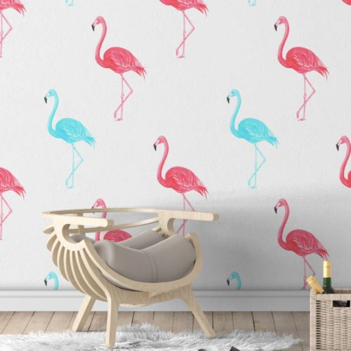 Flamingos Aguarela Papel de Parede