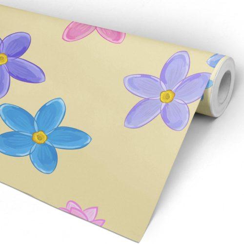 Flores Aguarela Tecido Autocolante Rolo