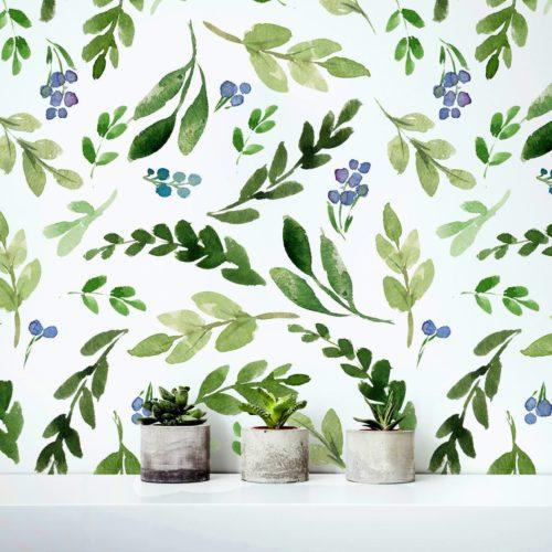 Folhas Verdes Aguarela Mural Decorativo