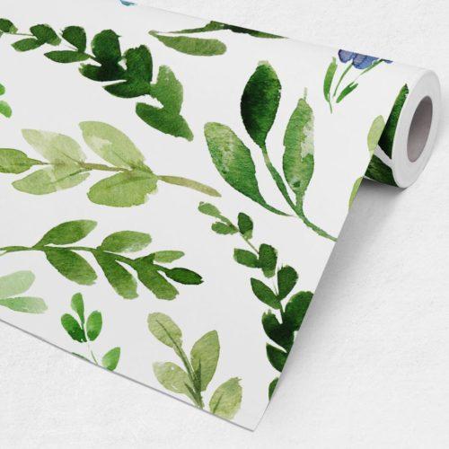 Folhas Verdes Aguarela Mural Decorativo Rolo