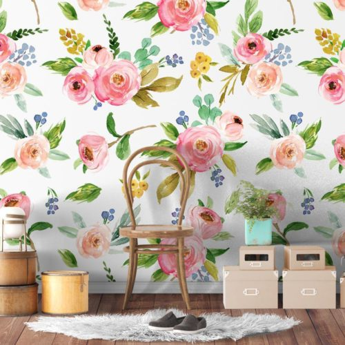 Rosas Aguarela Mural Decorativo