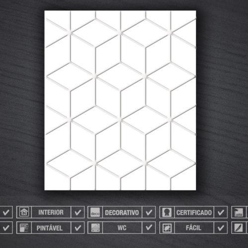 Cubos em Baixo Relevo Revestimentos 3D Detalhes