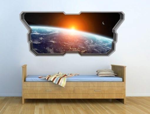 Janela da Nave Espacial Wallpaper 3D