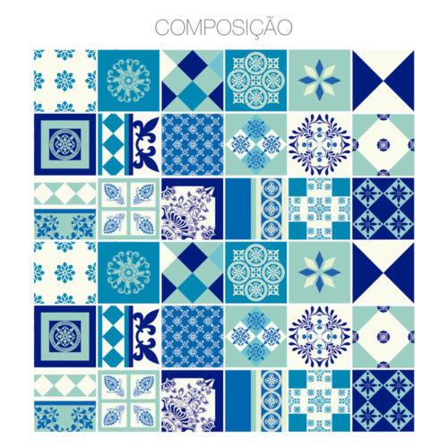 Indigo Azulejos Autocolantes Composição