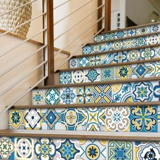 Azulejo Colorido Autocolante - Escadas