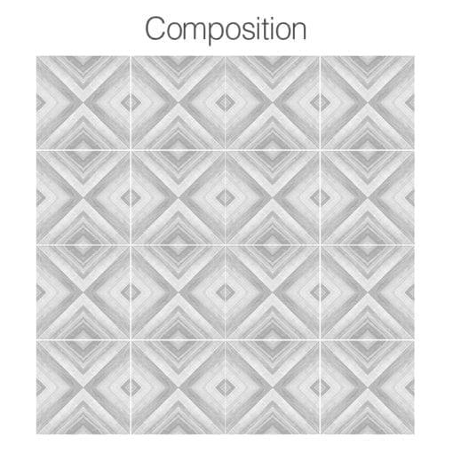 Azulejo Geométrico Desenho em Carvão Autocolante - Composição