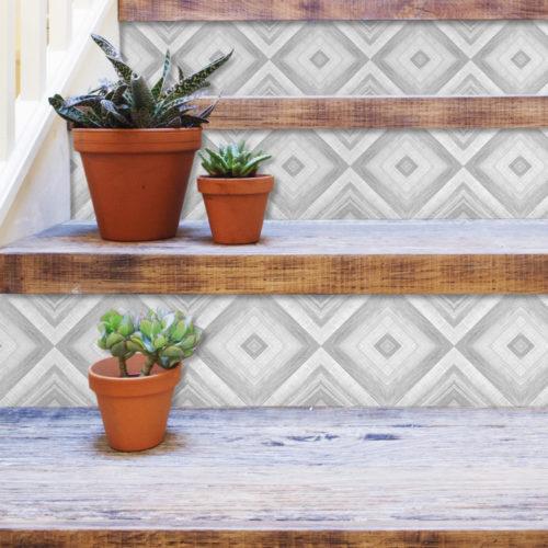 Azulejo Geométrico Desenho em Carvão Autocolante - Escadas