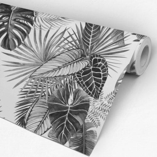 Folhas em Preto e Branco Papel de Parede Rolo