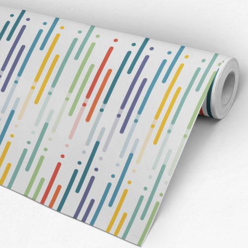 Design de Linhas Coloridas Papel de Parede-Rolo