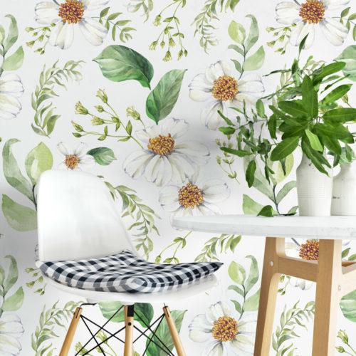 Floral Verde Aguarela Papel de Parede