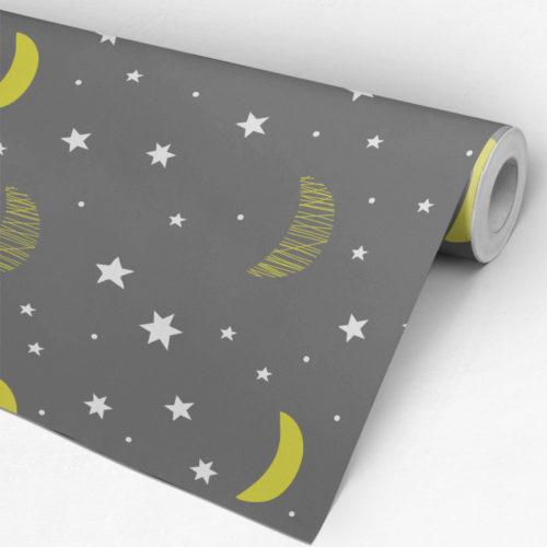 Lua e Estrelas Decoração de Quarto Infantil - Rolo