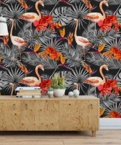 Flamingos com Fundo Negro Papel de Parede