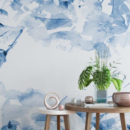 Floral Aguarela Azul Papel de Parede