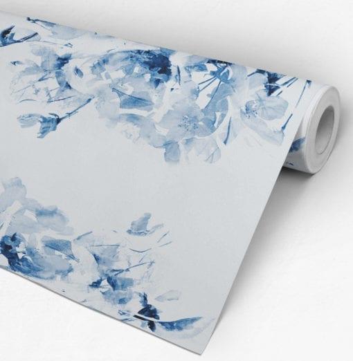 Floral Aguarela Azul Papel de Parede Rolo