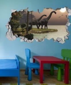 Dinossauro-brachiosaurus-ao-pôr-do-sol-efeito-parede-partida