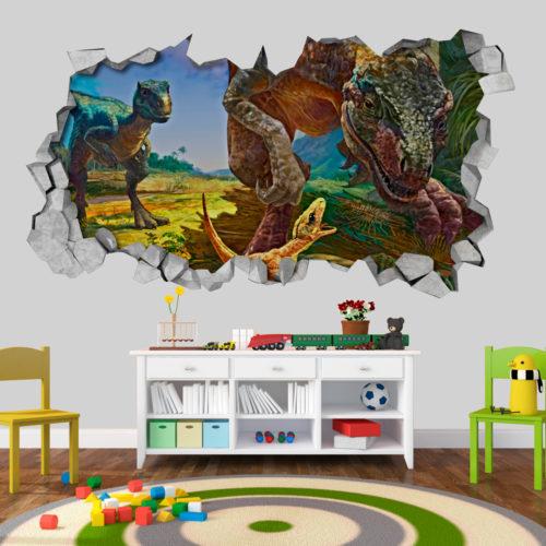 Família-de-dinossauros-velociraptors-em-efeito-3d