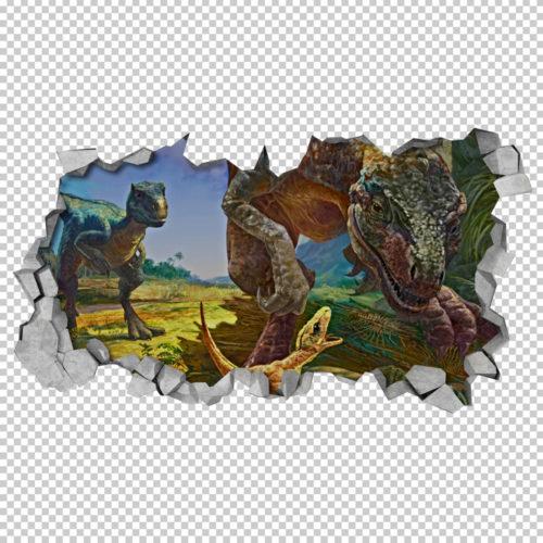 Família-de-dinossauros-velociraptors-em-efeito-3d-detalhe