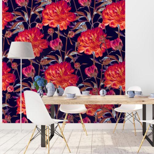 Mural Aquarela de Flores Peônias