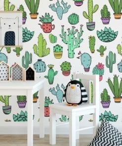 Padrão Cactus Tecido Mural Decorativo