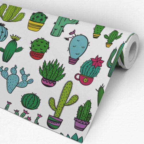Padrão Cactus Tecido Mural Decorativo Rolo