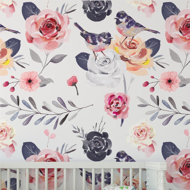 Papel de parede floral vintage - Papel para paredes ikea ...