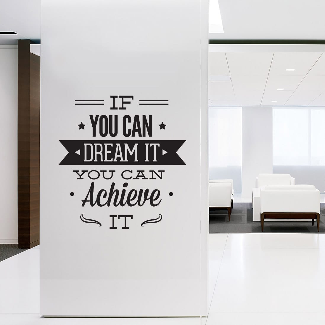 Dream it achieve it em vinil decorativo for Motivational quotes for office cubicle
