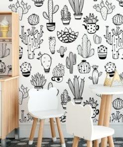 Padrão Cactus BW Tecido Mural Decorativo