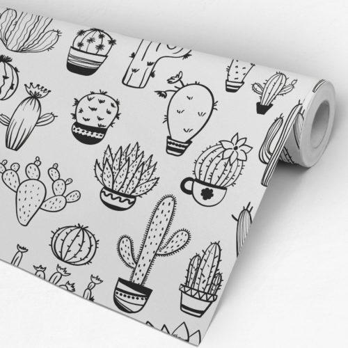 Padrão Cactus BW Tecido Mural Decorativo - Rolo